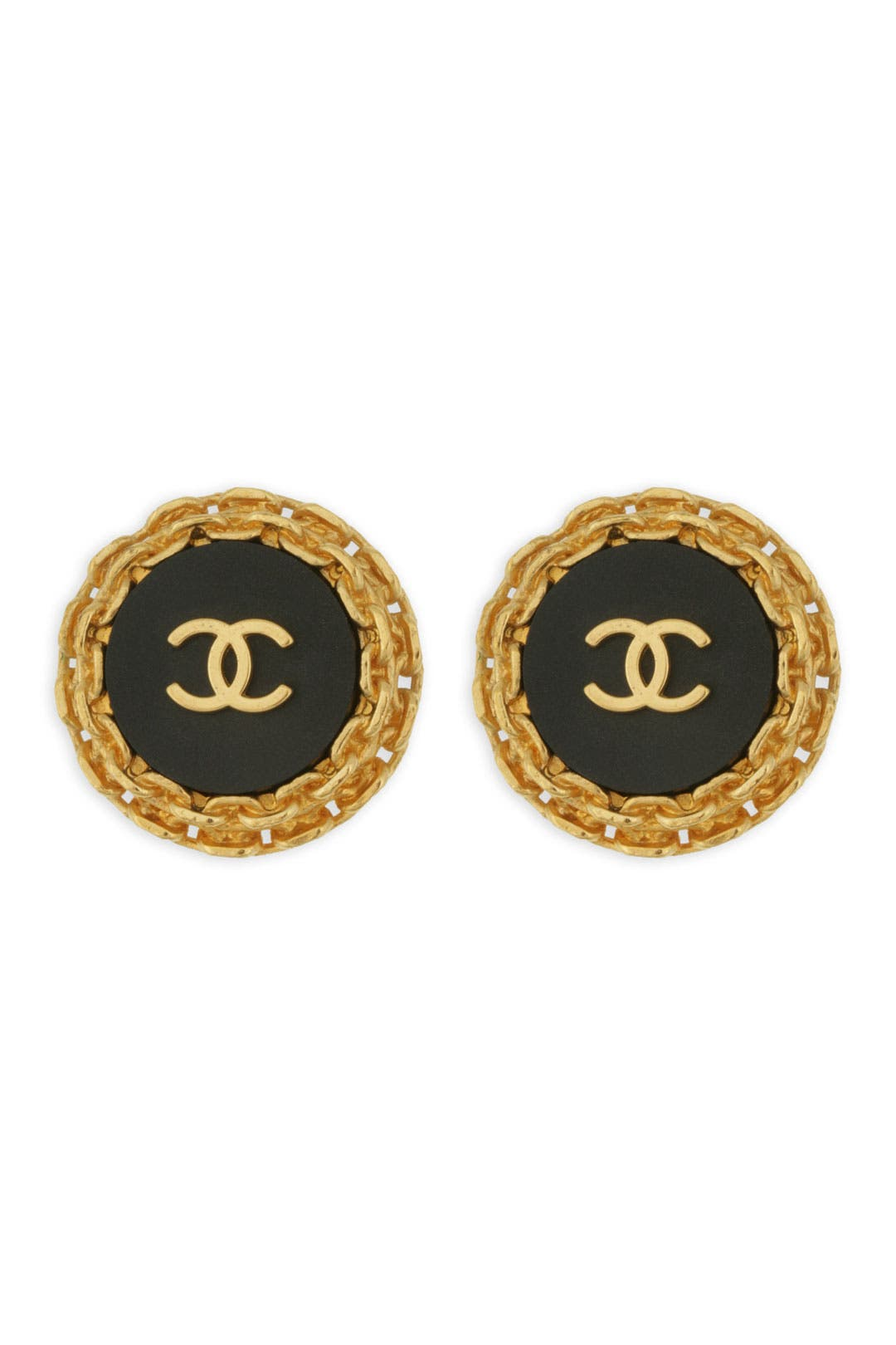 Vintage Chanel Black Button CC Earrings by WGACA Vintage