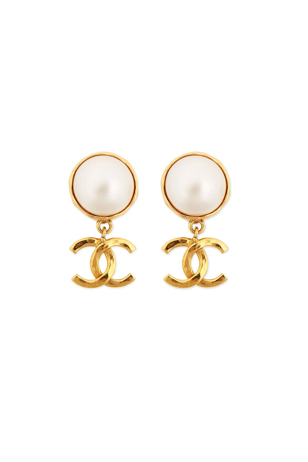 Vintage Chanel CC Pearl Drop Earrings by WGACA Vintage