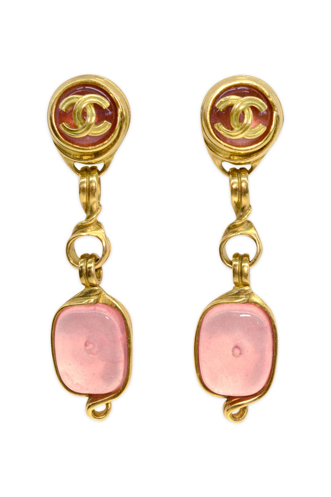 Vintage Chanel Pink Gripoix Drop Earrings by WGACA Vintage