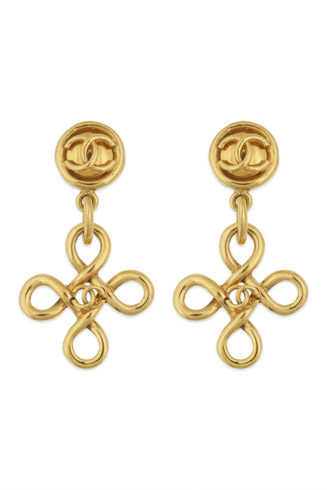 Vintage Chanel Coco Cross Dangle Earring by WGACA Vintage