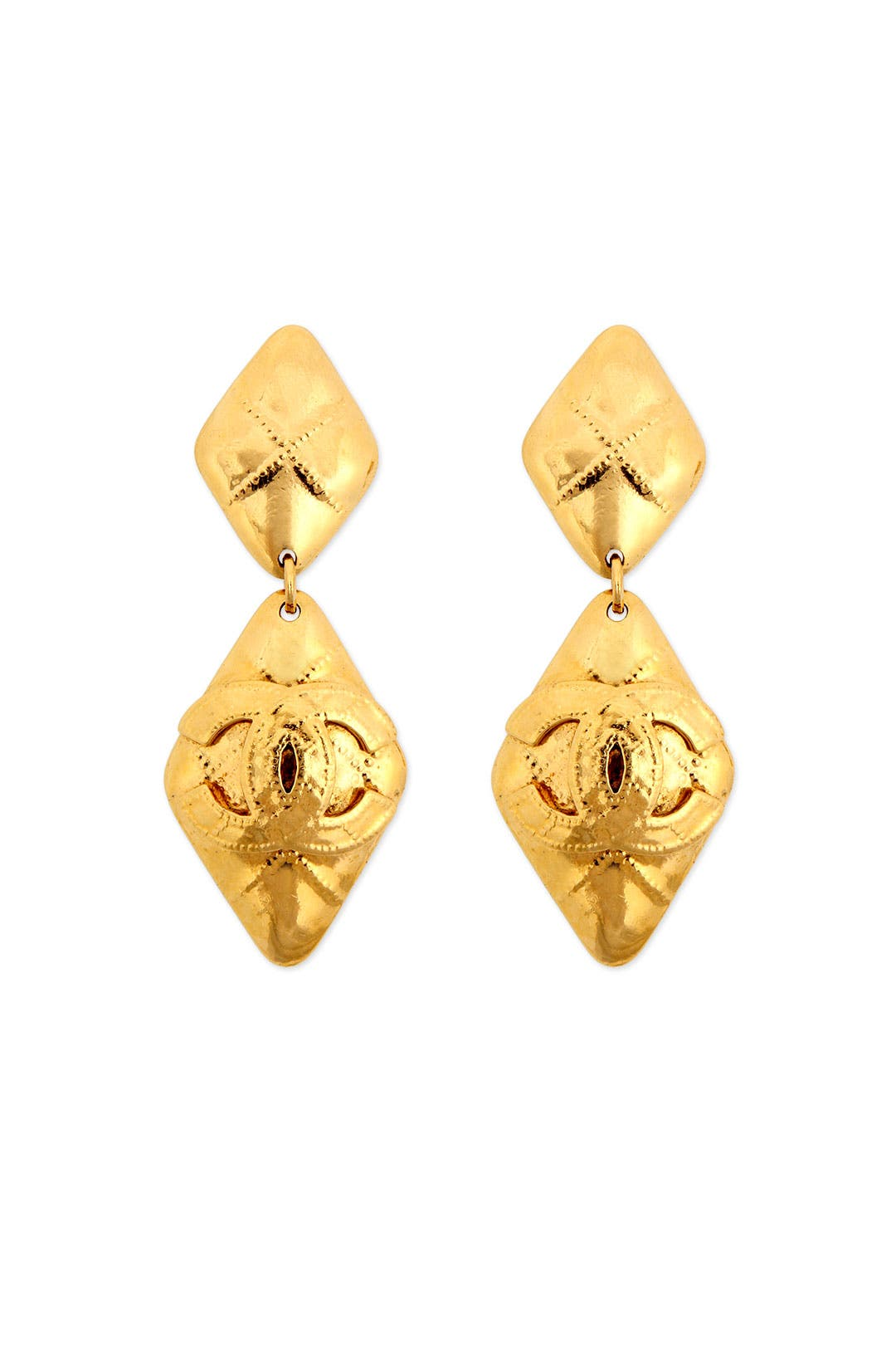 Vintage Chanel Quilted Diamond Drop Earrings by WGACA Vintage