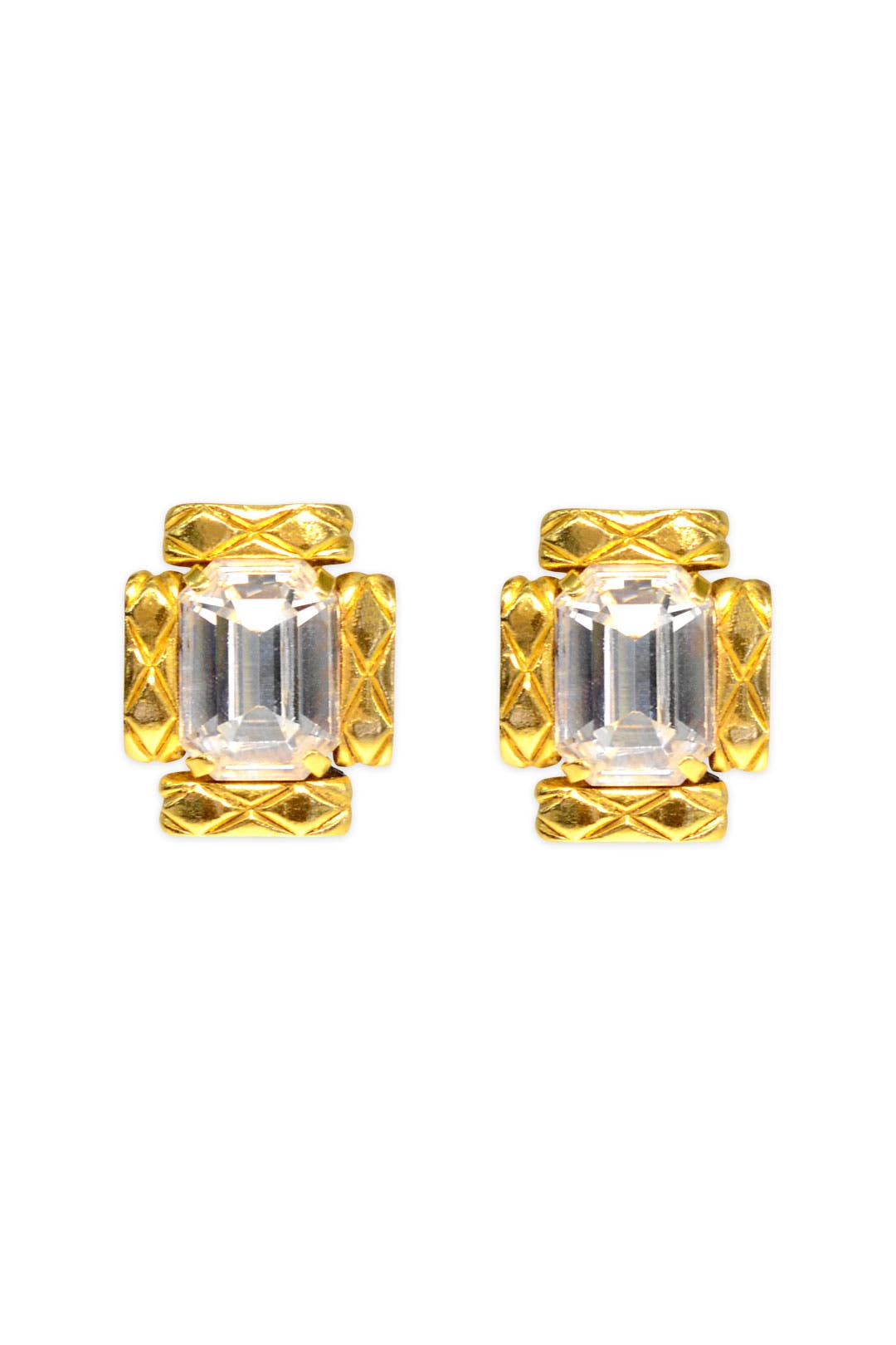 Vintage Chanel Crystal Rectangle Earrings by WGACA Vintage