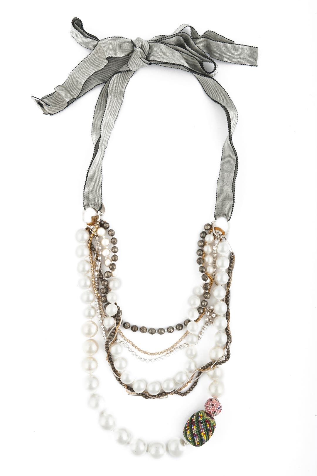 Pearl and Chain Bow Necklace by Chan Luu