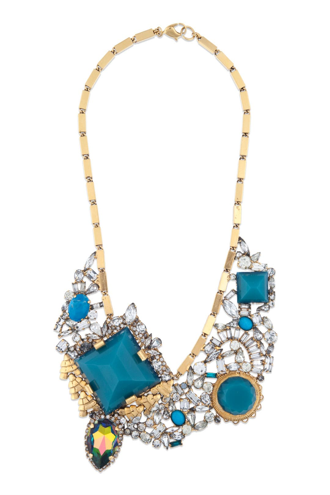 Gold Geo Crystal Bib Necklace by Erickson Beamon