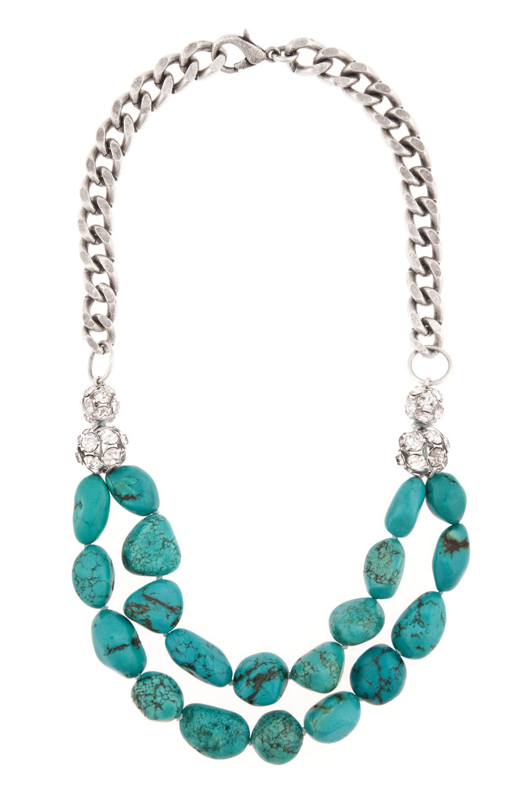 Turquoise Chain and Crystal Necklace by Janis Savitt