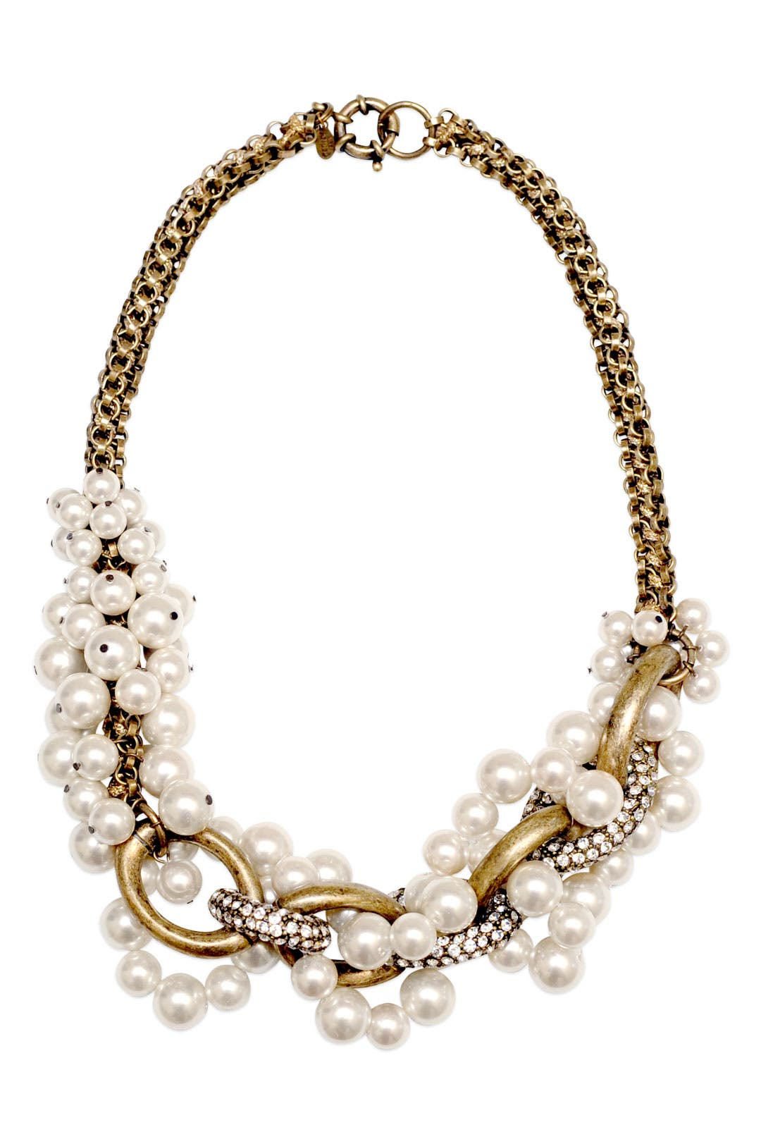 Entwined Pearl and Chain Necklace by Lee Angel