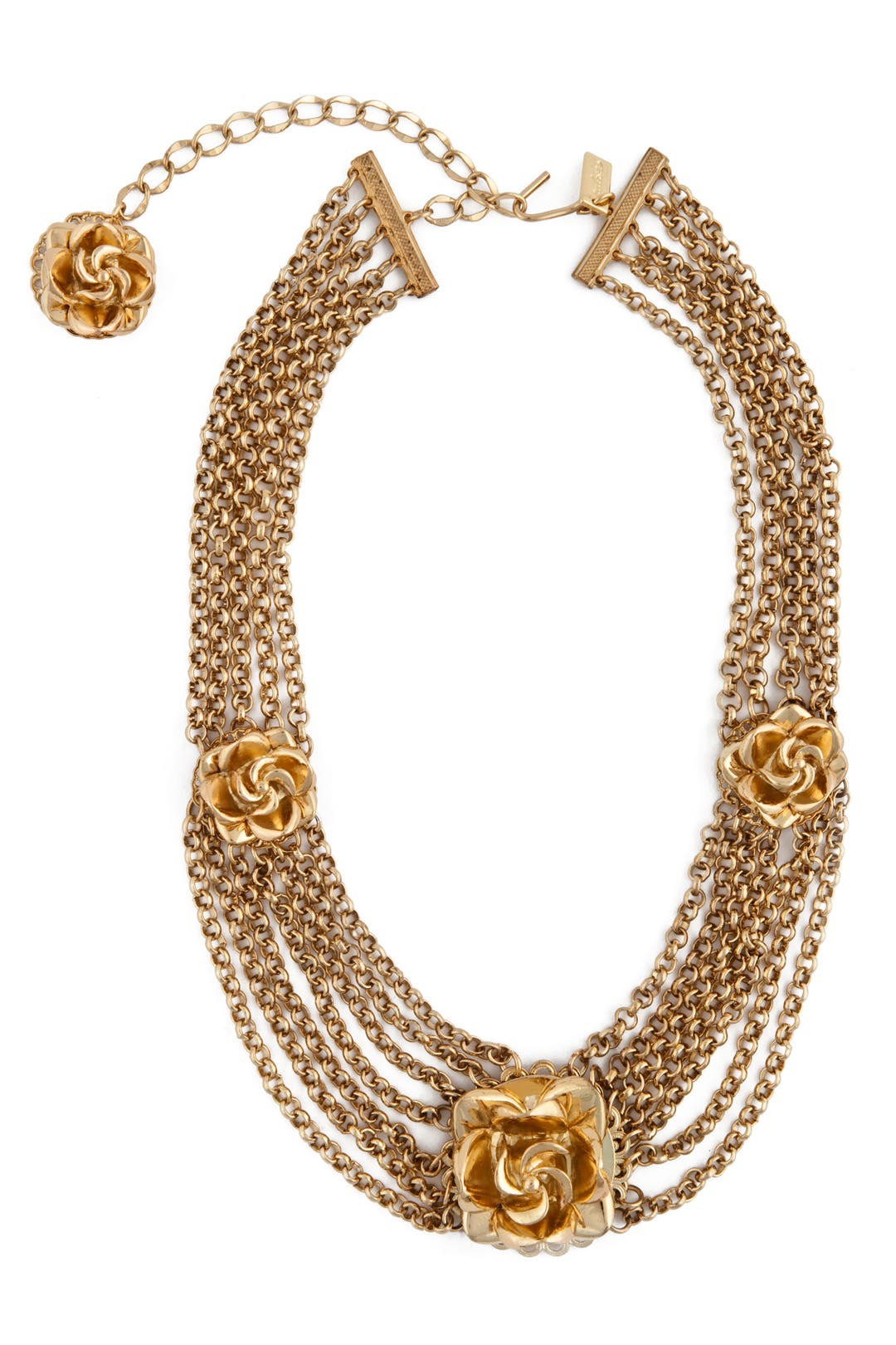 Triple Rosette Chain Necklace by Tuleste Market