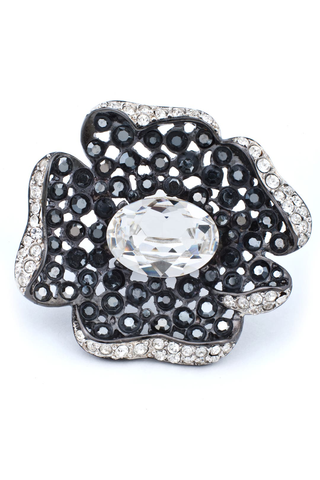 Gunmetal Flower Ring by Kenneth Jay Lane