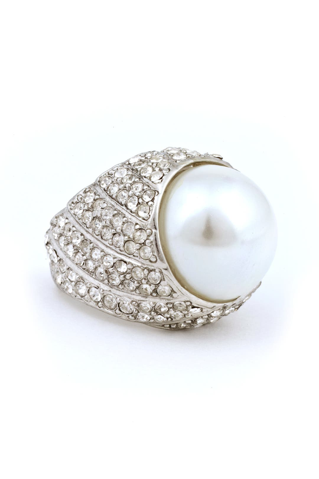 Pave Pearl Ring by Kenneth Jay Lane