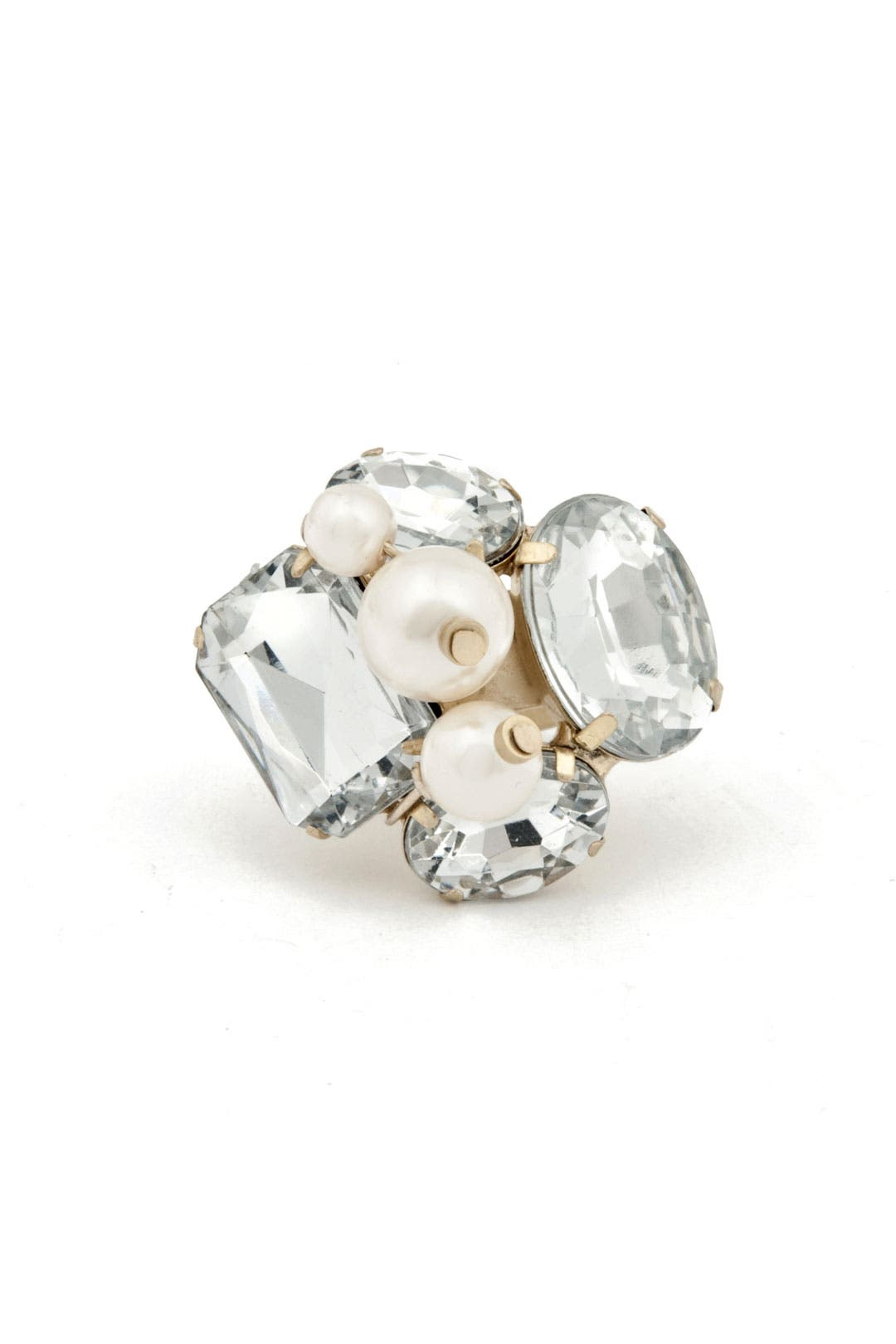 Pearl and Crystal Ring by Lee Angel
