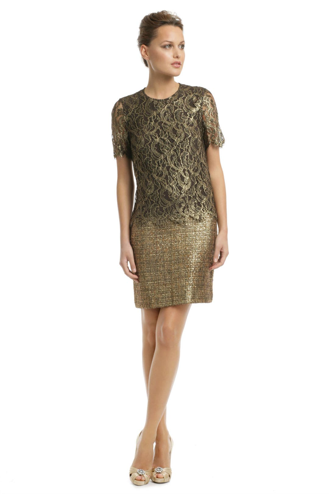 Gold Speck Tweed Dress by ADAM