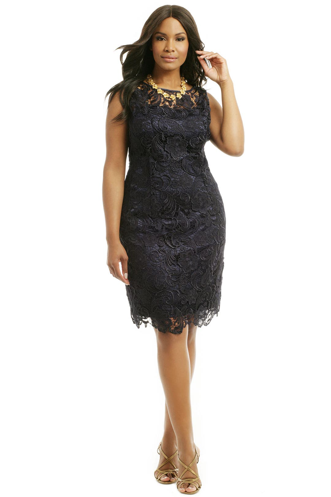 Dainty Danika Goes Navy Sheath by Adrianna Papell