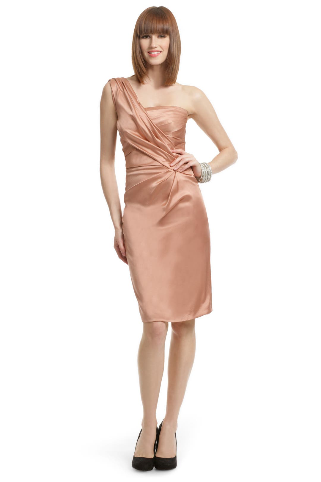 Peach Satin Draped Dress by Alberta Ferretti