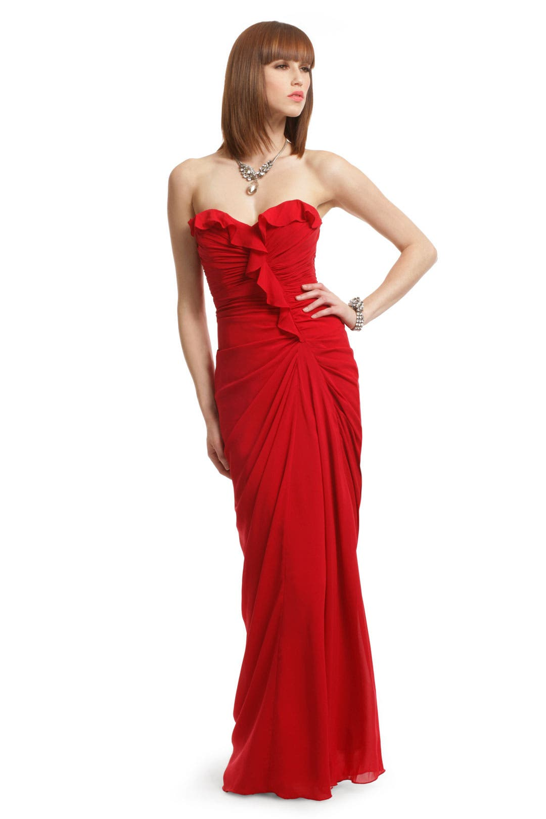 Ruffles in Red Gown by Badgley Mischka