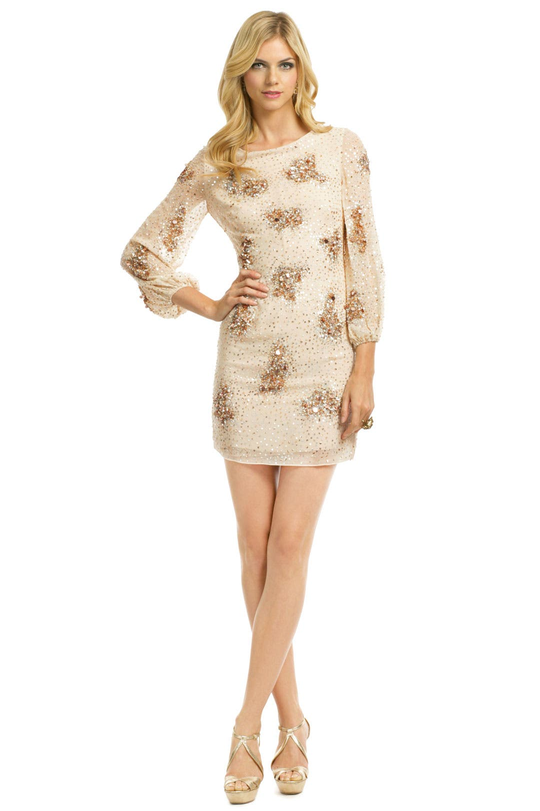 Sequin Bell Sleeve Sheath by Badgley Mischka