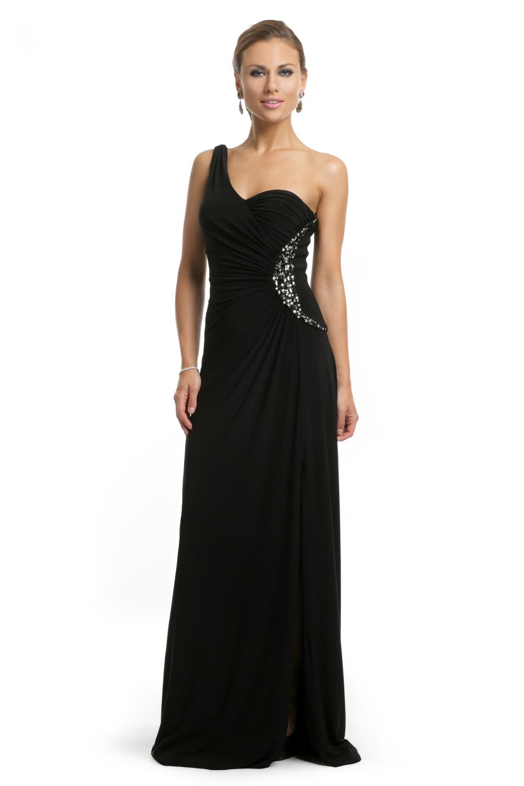 Black Beaded One Shoulder Gown by Blugirl