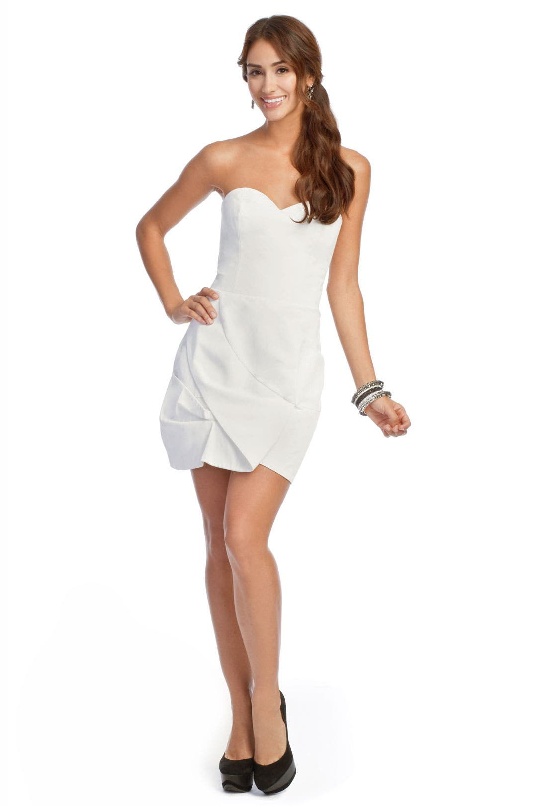 Ivory Frosting Petal Dress by Carlos Miele