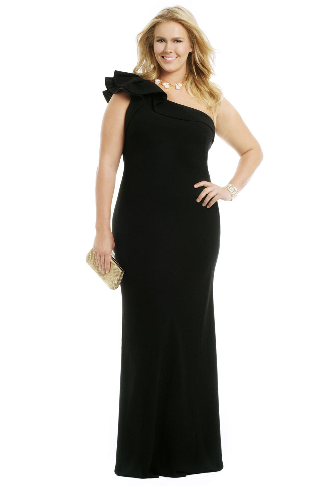 Black Couture Ruffle Gown by Carmen Marc Valvo