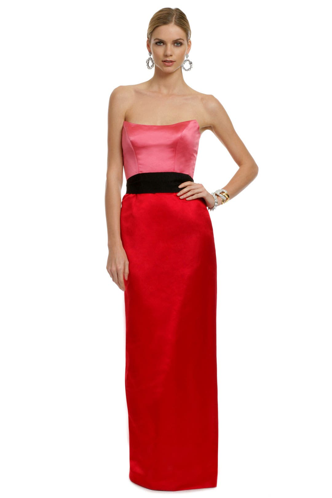 Red Qui Contrast Gown by Chris Benz
