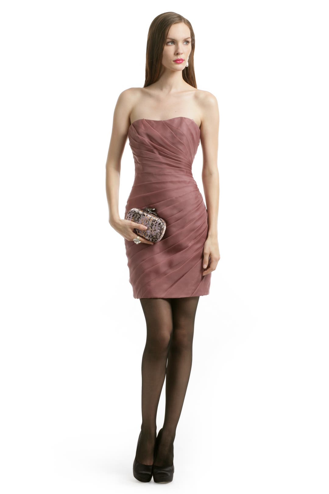 Mauve Spiral Strapless Dress by Christian Siriano