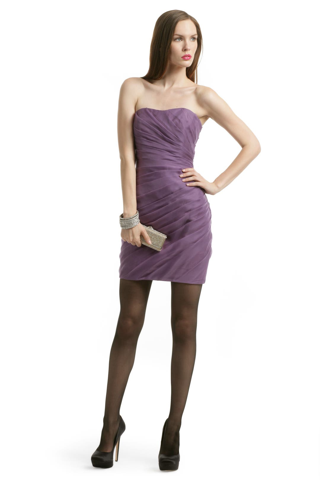 Purple Spiral Strapless Dress by Christian Siriano