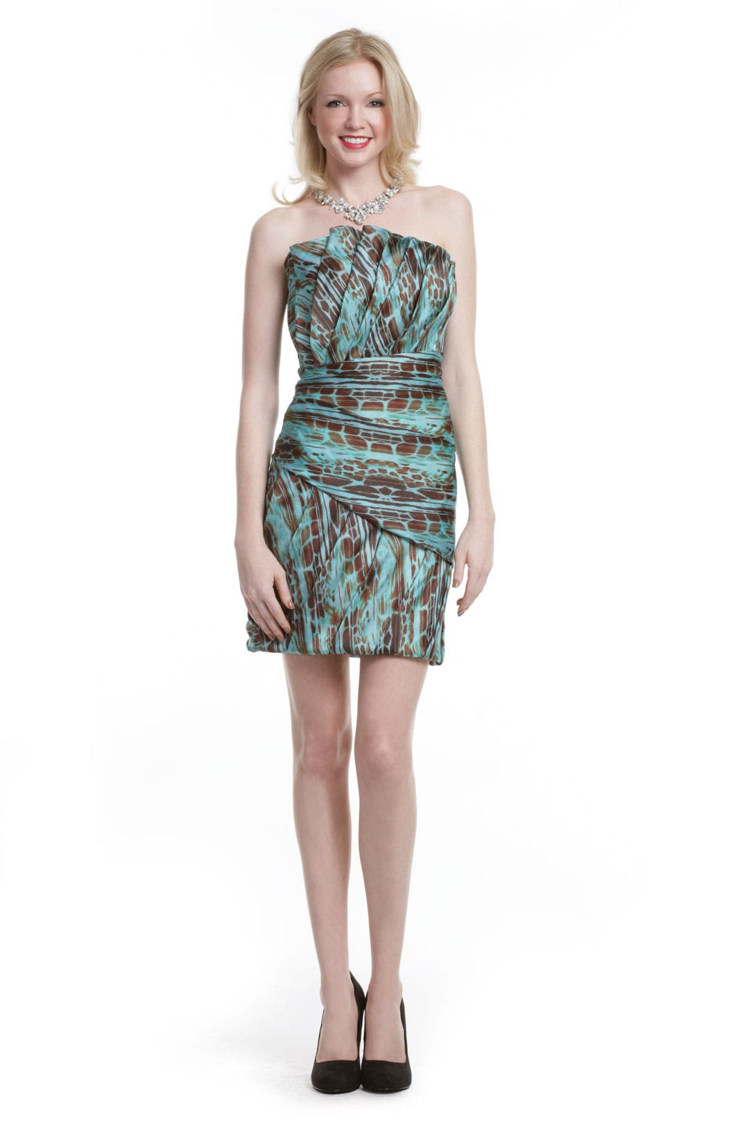 Turquoise Ruffle Dress by Christian Siriano
