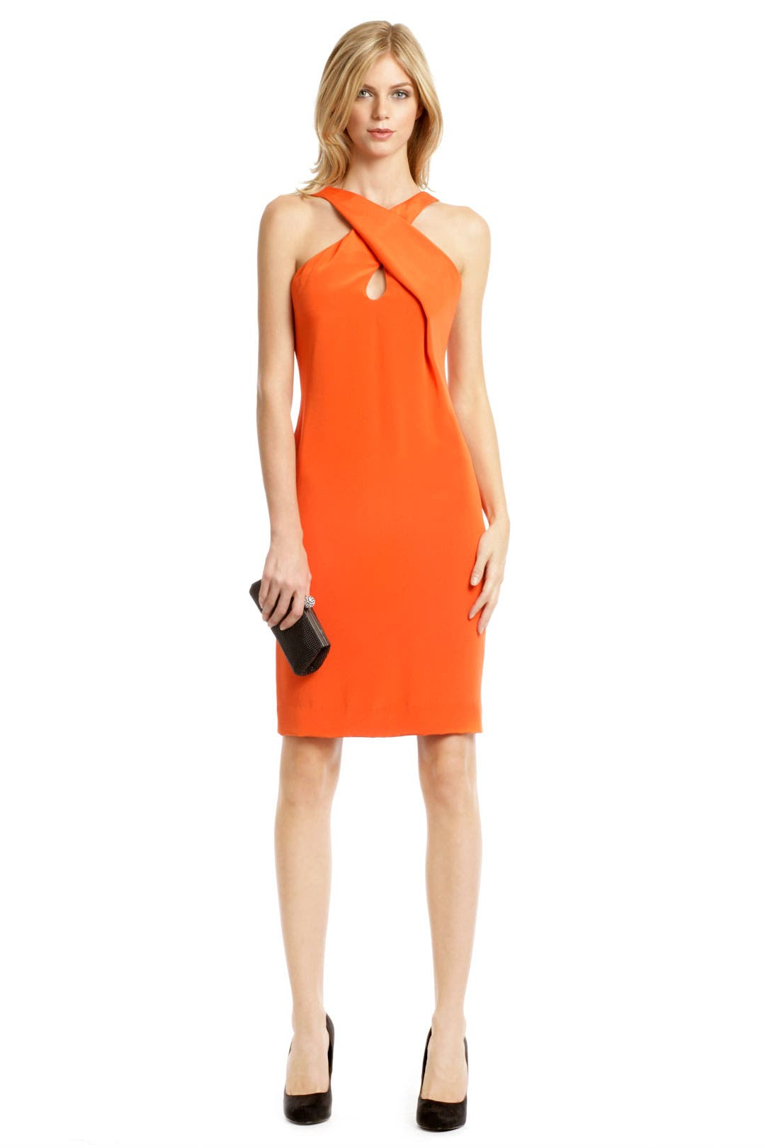 Tangerine Cross Halter Dress by Cushnie Et Ochs