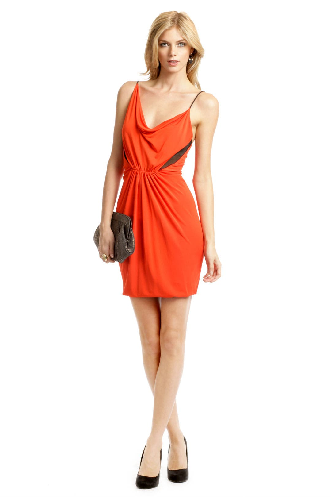 Orange Mesh Insert Dress by Cut 25