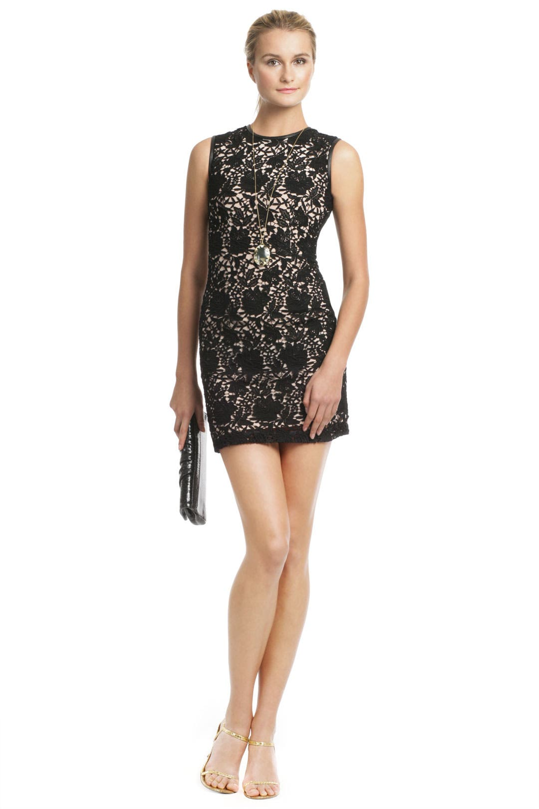 Lace Leather Chemise Dress by Cynthia Rowley