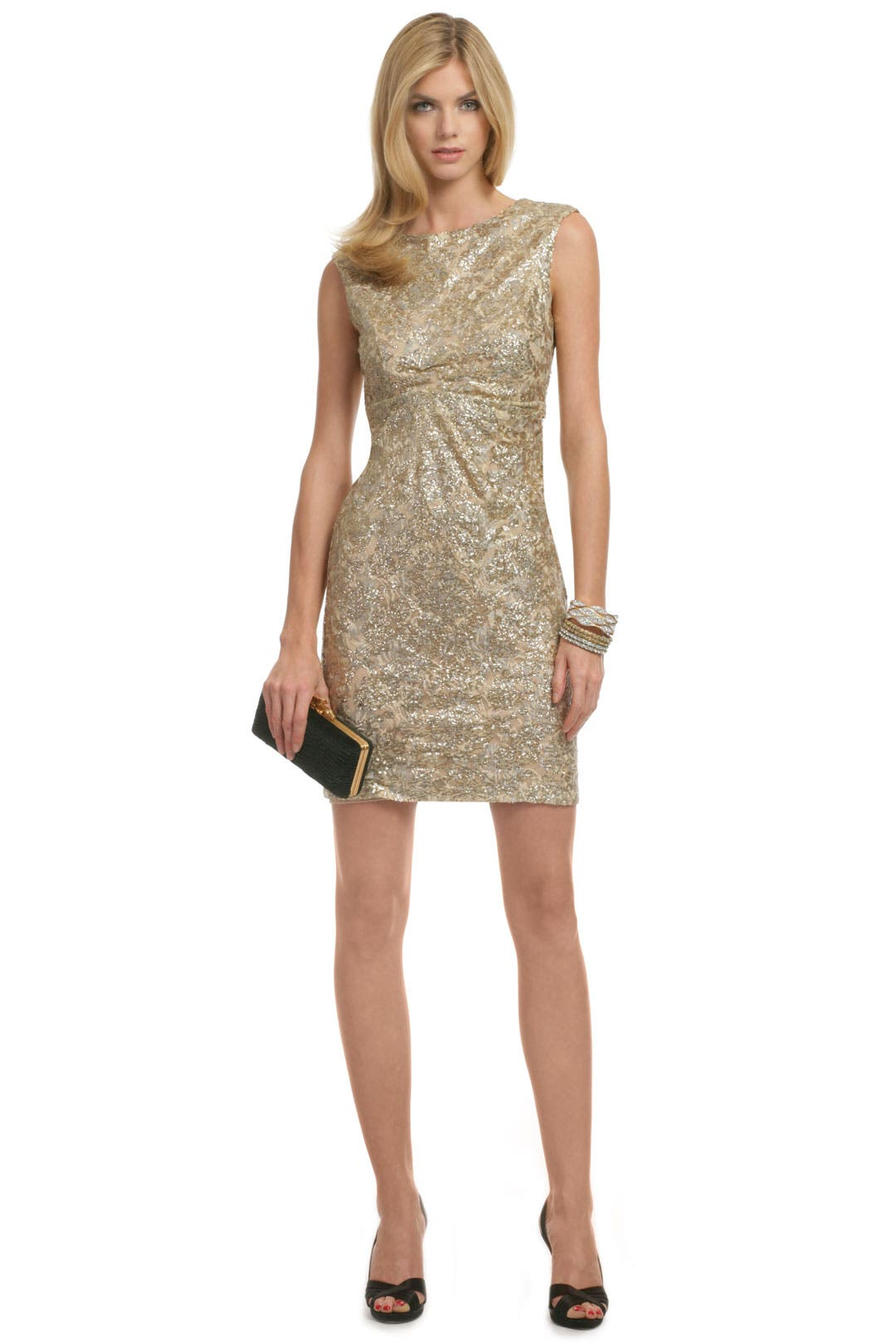 Gold Lela Lace Dress by David Meister