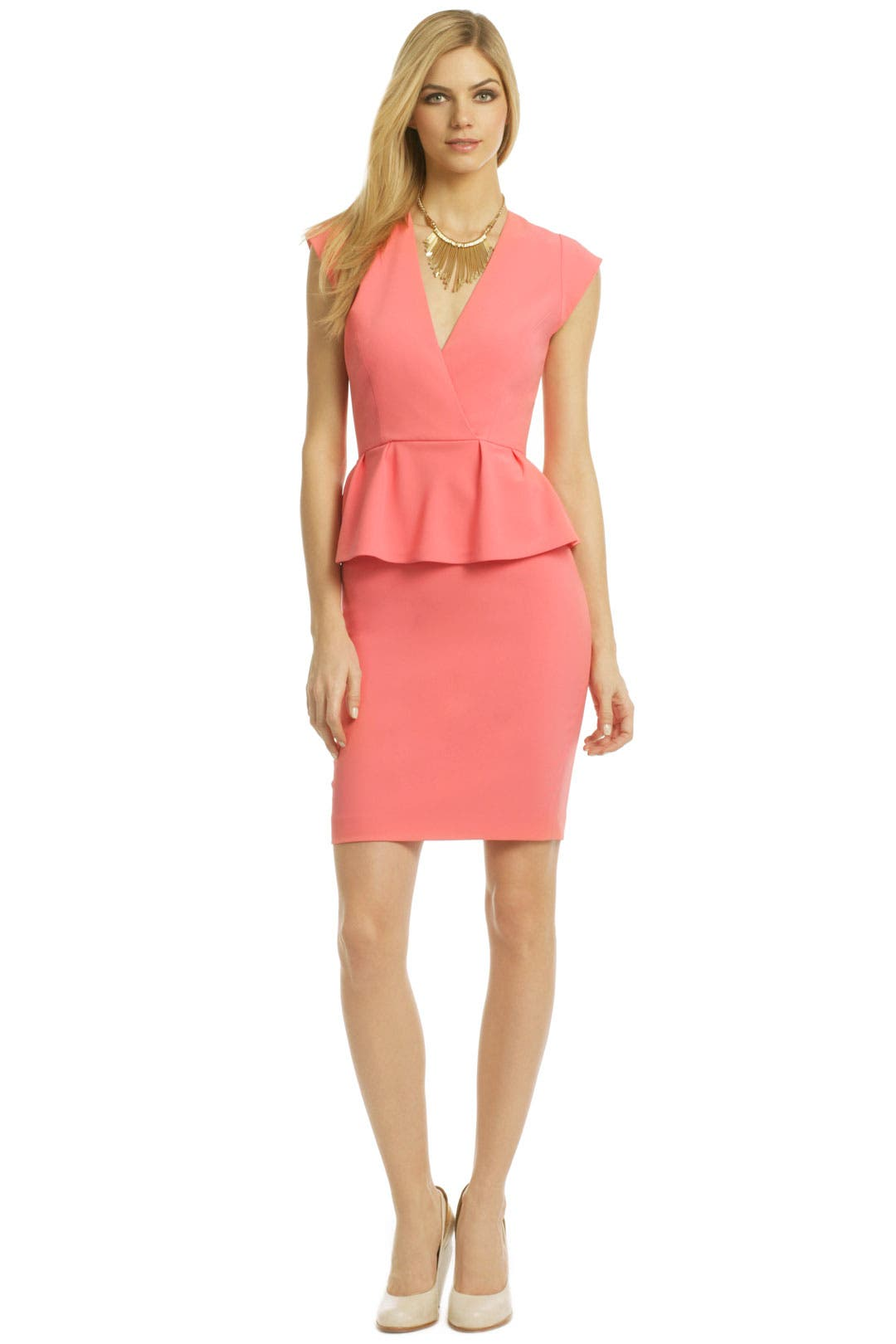 Coral Beach Peplum Dress by ERIN by erin fetherston