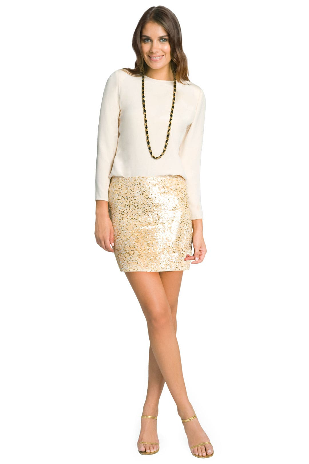 Glam Nude Sequin Skirt by Haute Hippie