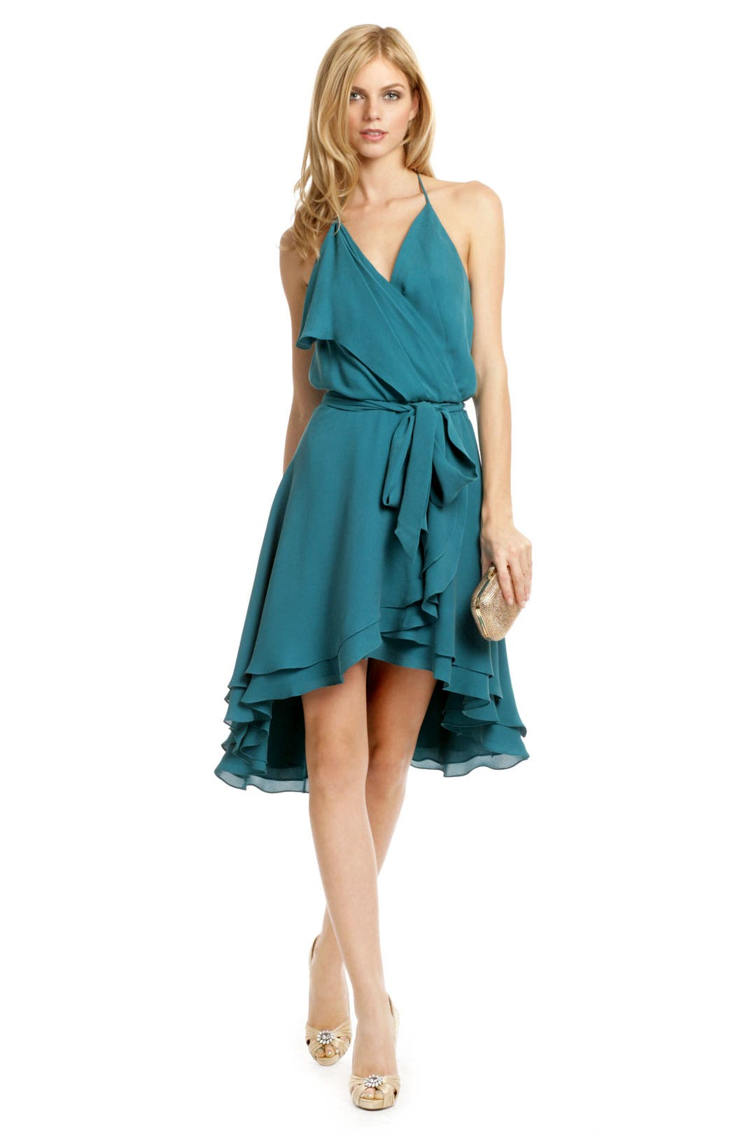 Teal Time Ruffle Dress by Haute Hippie