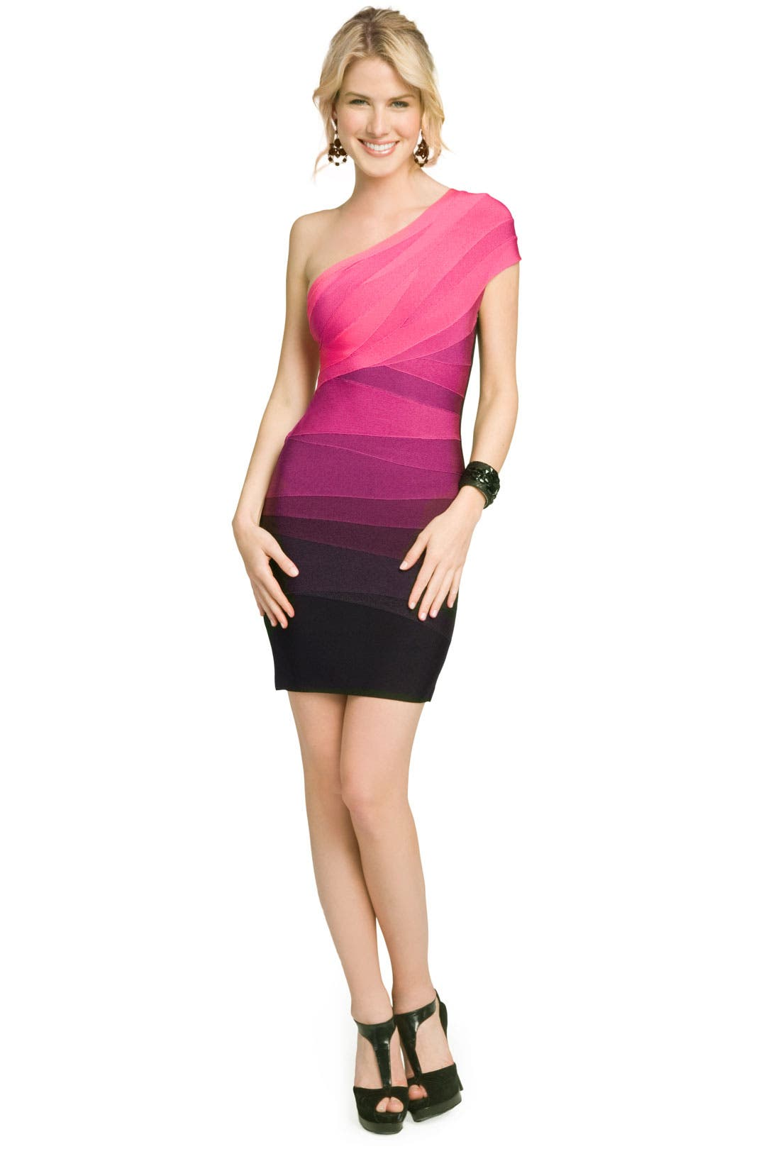 Berry Ombre Shoulder Dress by Hervé Léger