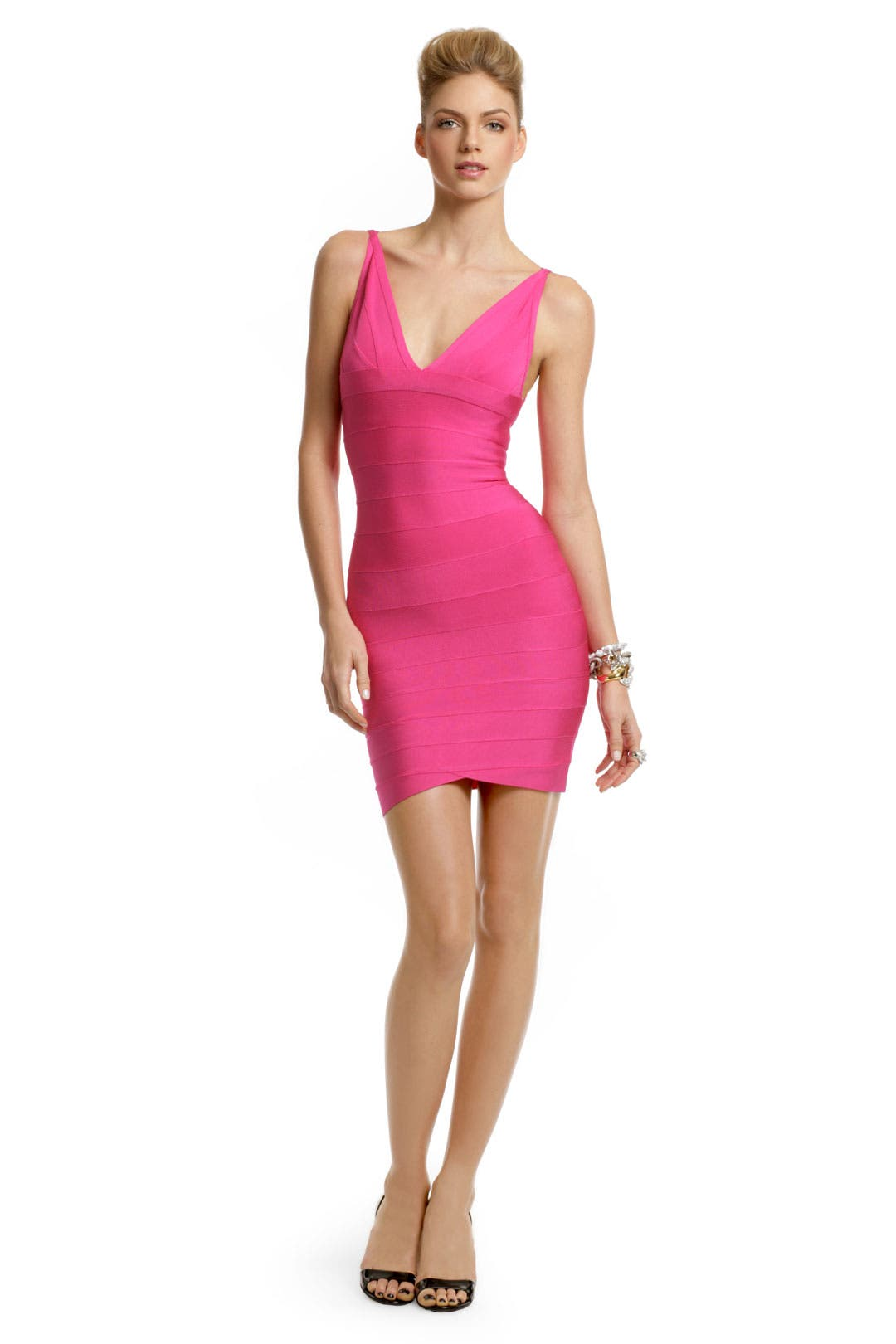 Fuchsia Fantasy V Dress by Hervé Léger