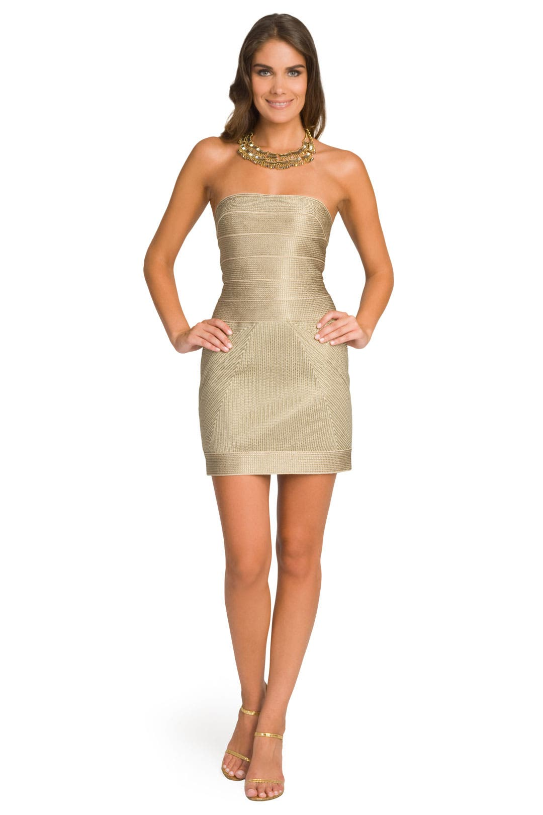 Gold Glimmer Strapless Dress by Hervé Léger