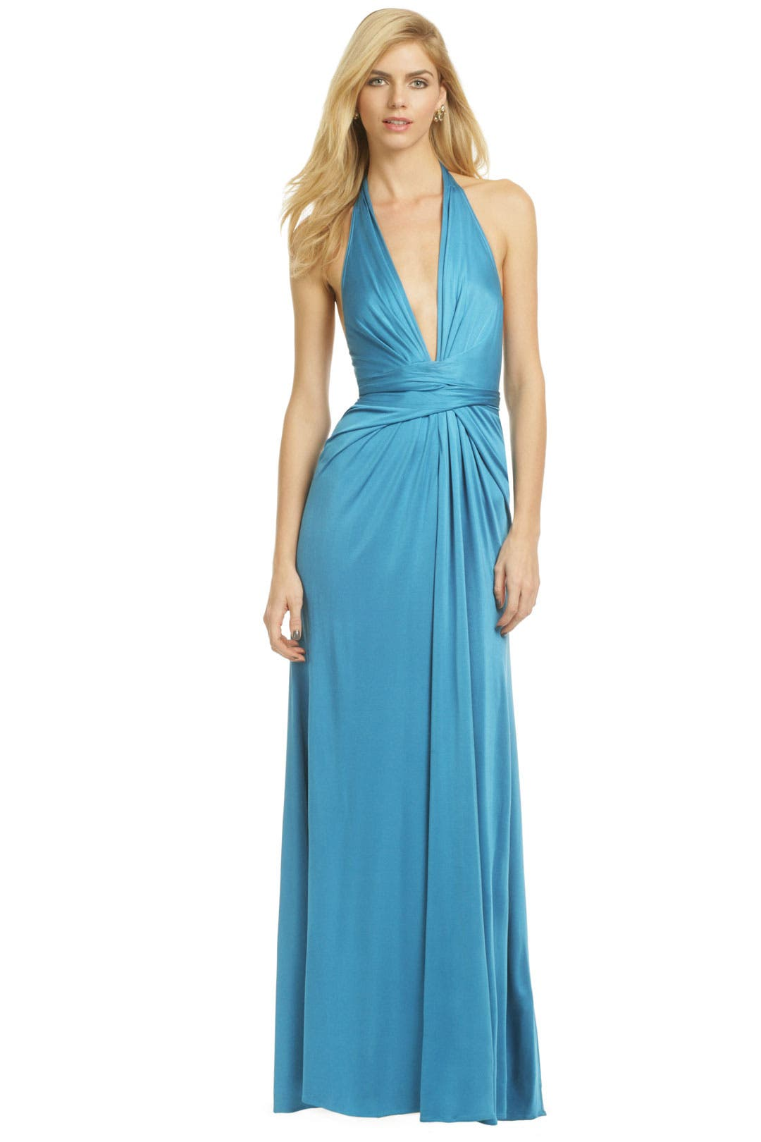 Plunging Blue Wrap Gown by Issa