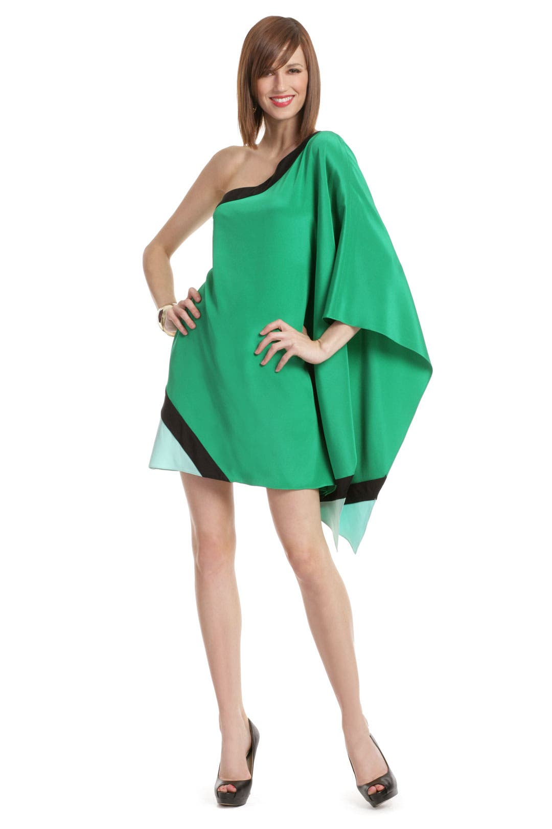 Emerald Colorblock Poncho by Jay Godfrey