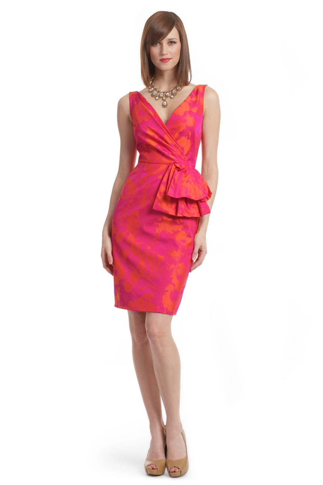Fuchsia Floral Tafetta Dress by Lela Rose