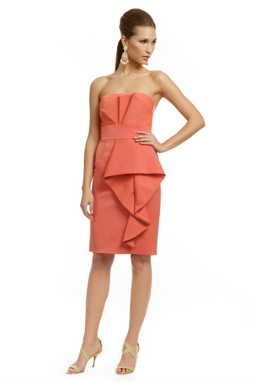 Orange Couture Wave Dress by Lela Rose