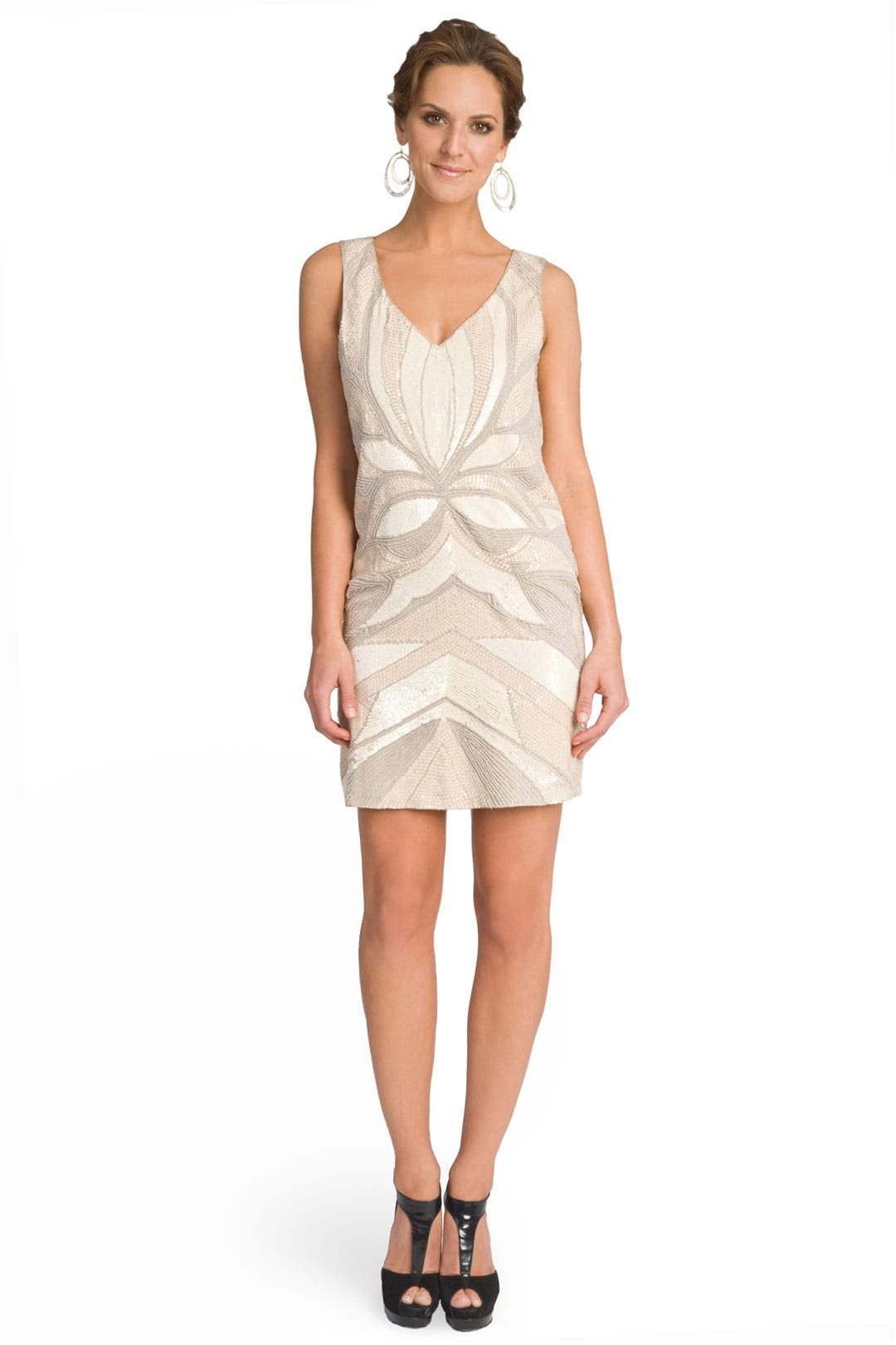 Art Deco Print Beaded Shift by Mark & James by Badgley Mischka