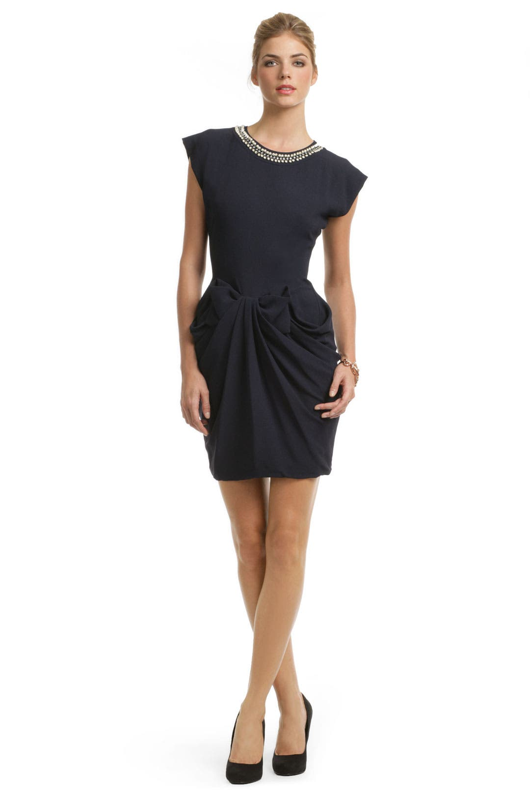 Navy Sable Bow Dress by Moschino