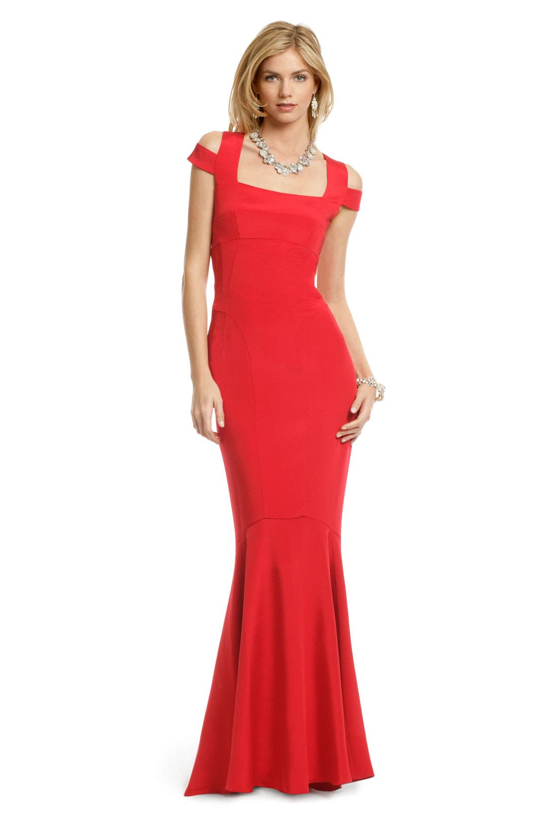Crimson Cutout Gown by Narciso Rodriguez