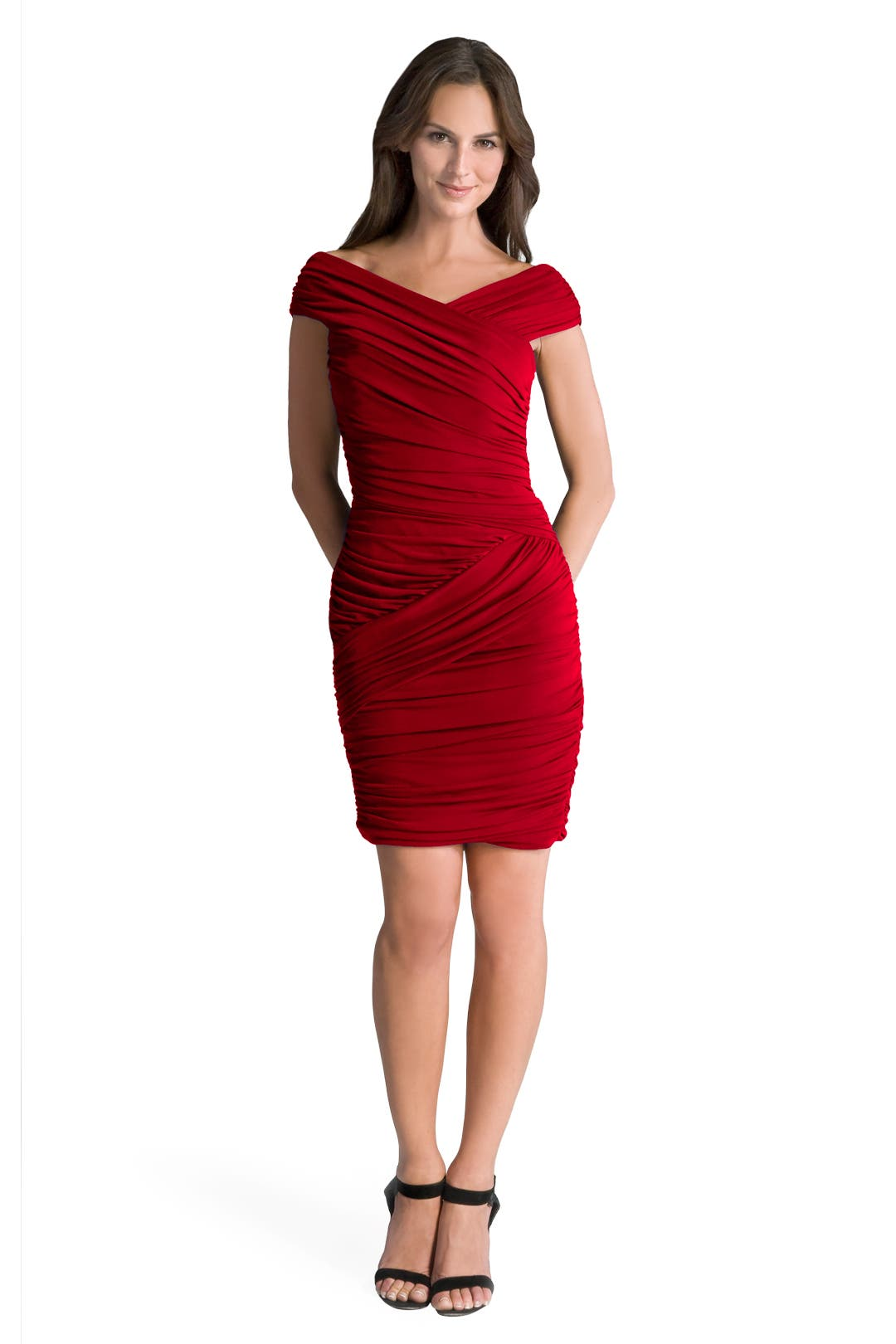 Red Butterfly Ruched Dress by Nicole Miller