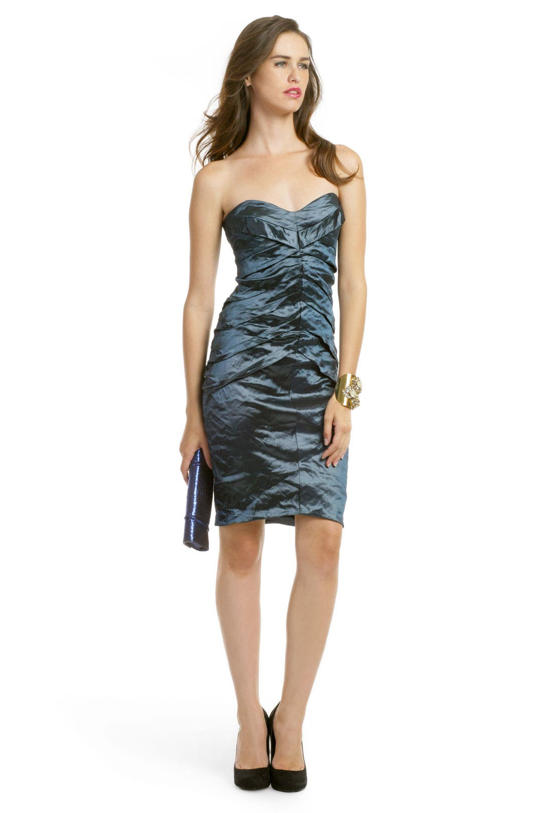 Teal Metallic Pintuck Dress by Nicole Miller