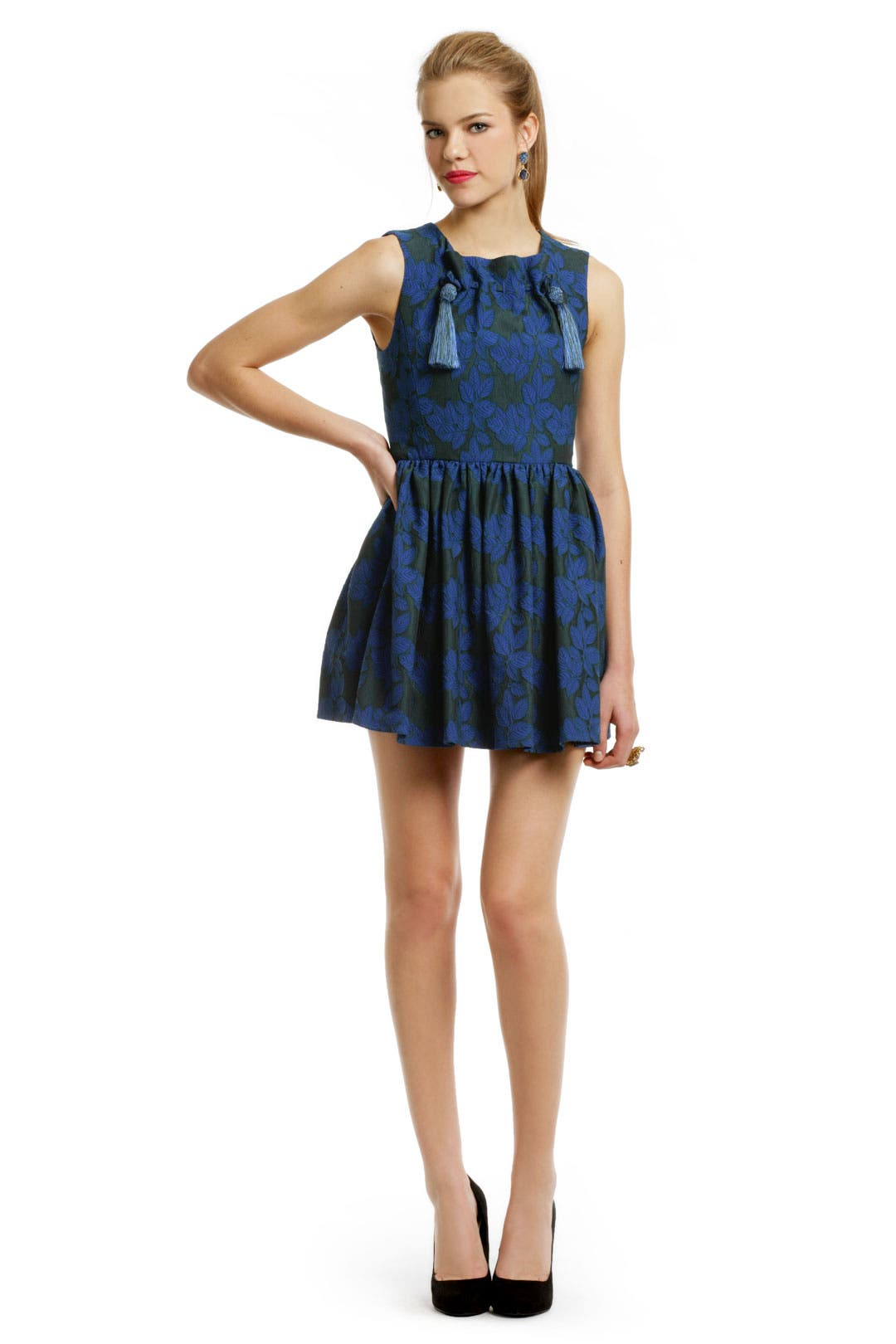 Blue Leaf Tassle Dress by Opening Ceremony