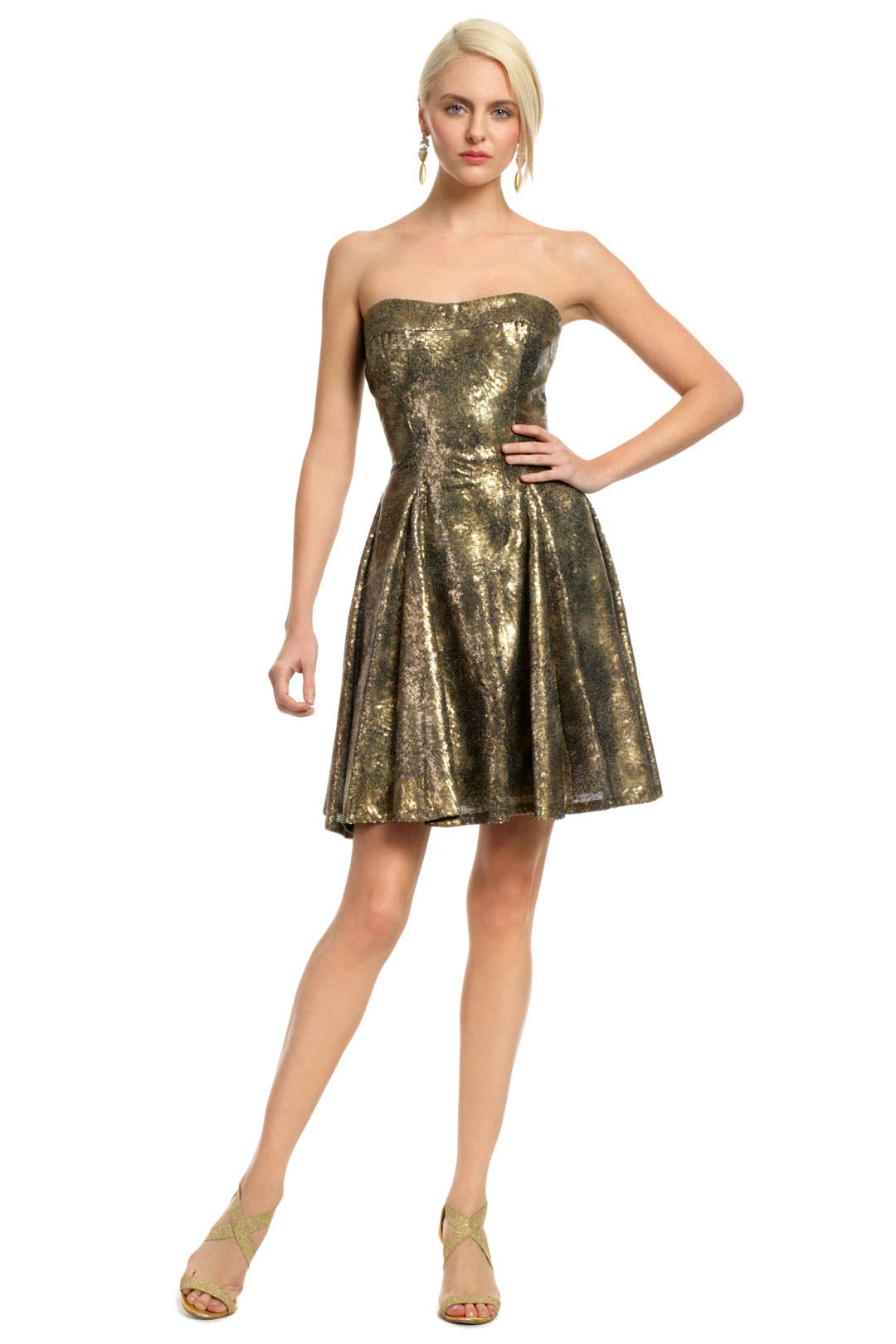 Copper Sequin Confetti Dress by Peter Soronen
