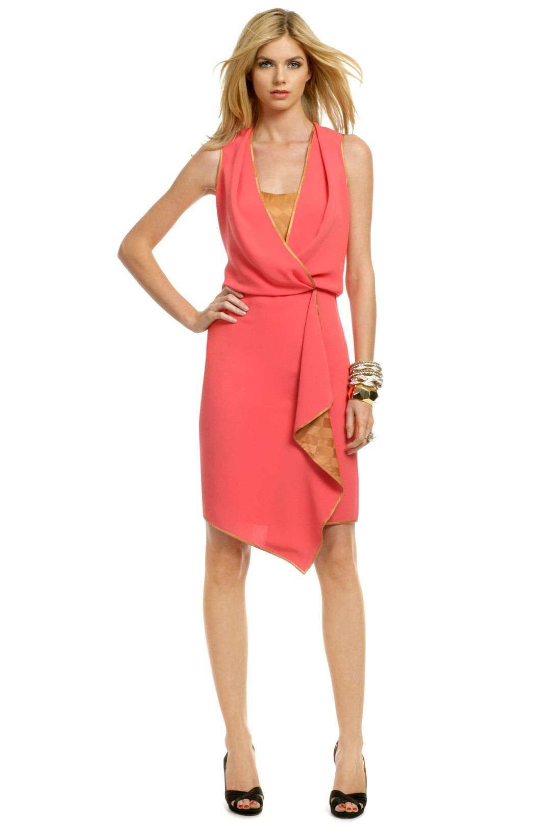 Coral Checkmate Dress by Rachel Roy