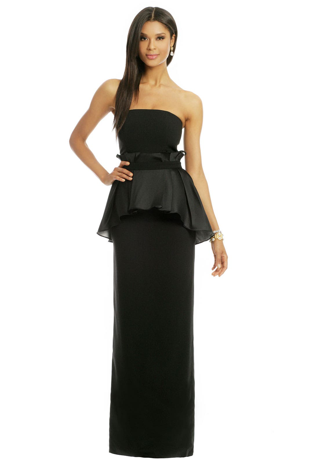 Ruffle Waisted Peplum Gown by Raoul