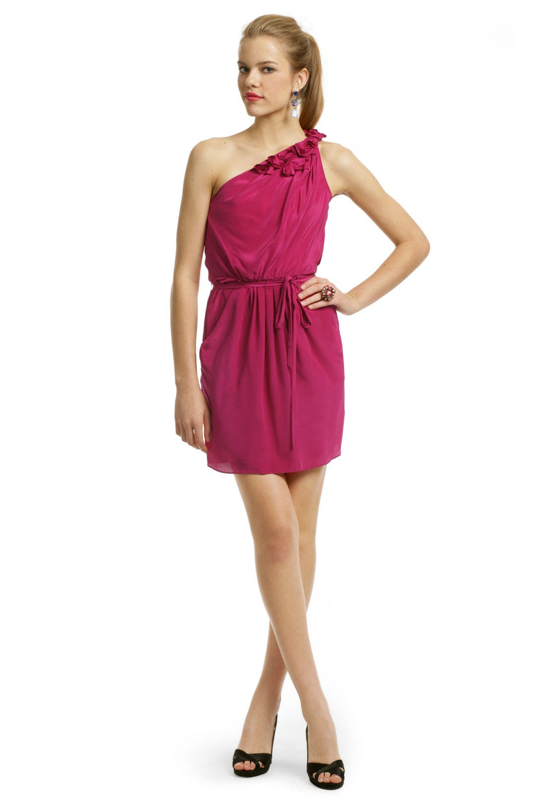 Pink Rosette Tie Dress by Rebecca Taylor